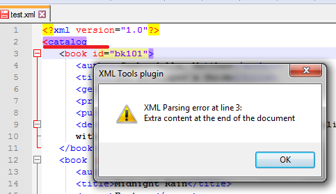 Автоматическая проверка синтаксиса плагином XML Tools