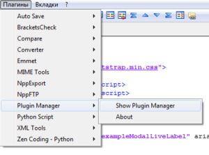 Notepad ++ plugin manager