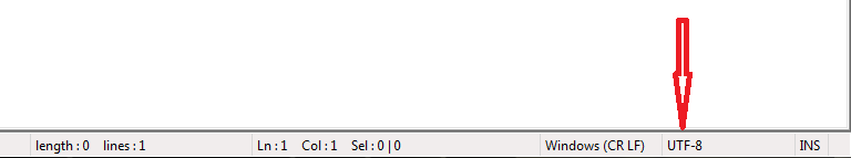 Где посмотреть текущую кодировку в Notepad++