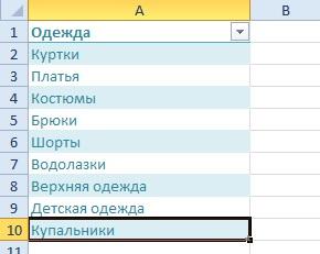Excel выпадающий список значения