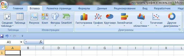 Вставка диаграммы в Excel